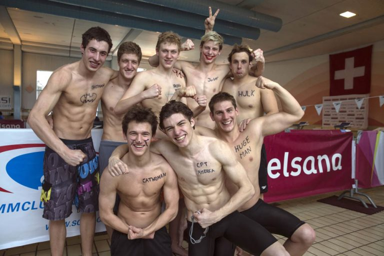 SchwimmClub Uster Wallisellen's men team with Luc DILLIER (top row L-R), Niklas FRIEDERICI, Alexander BERNATSCHEK, Nico SPAHN and Gino DEFLORIAN, Tim VAN BERKEL (bottom row L-R), Aron SERAFINI and Julien BAILLOD pose for a photo after finishing second in the NLB Swiss Swimming Club Championships at the Hallenbad Buchholz in Uster, Switzerland, Sunday, March 24, 2013. (Photo by Patrick B. Kraemer / MAGICPBK)